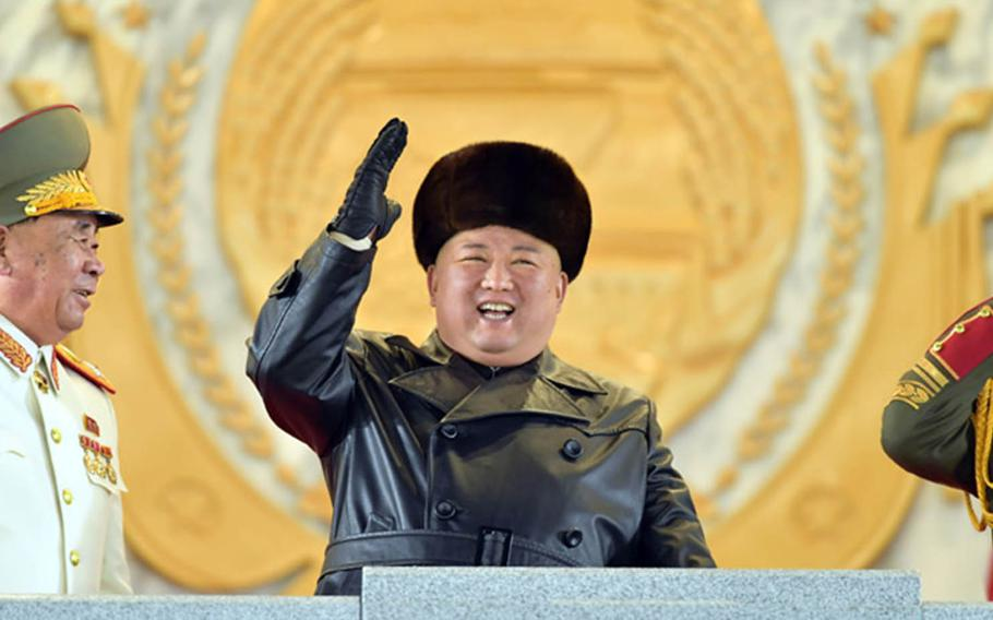 North Korean leader Kim Jong Un attends a military parade in Pyongyang in this undated photo from the Korean Central News Agency.