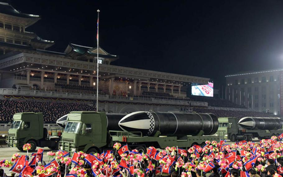 North Korea shows off submarine-launched ballistic missiles during a military parade in Pyongyang in this undated photo from the Korean Central New Agency.