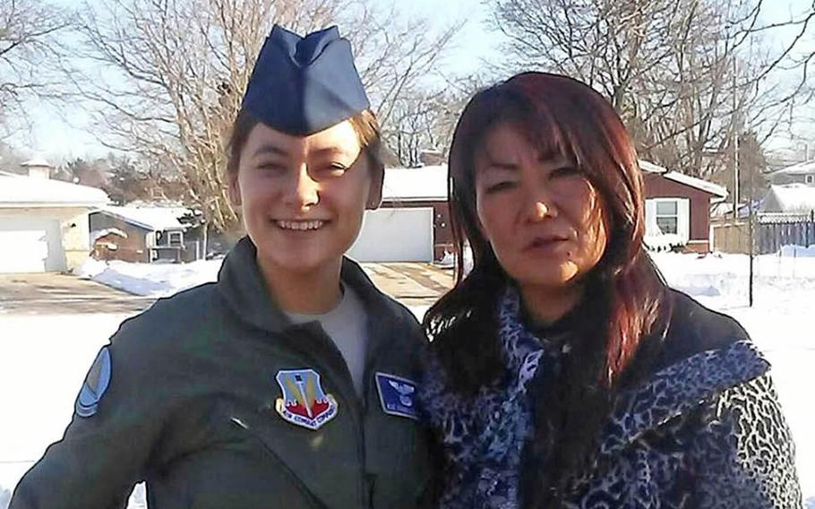 Air Force veteran Isabelle Hyon DuCharme poses with her mother, Hyon Chu, in January 2017.
