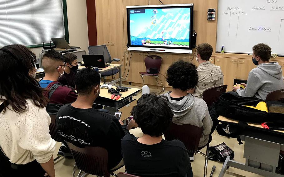 Members of Matthew C. Perry High School's esports club meet at Marine Corps Air Station Iwakuni, Japan, in this undated photo provided by Department of Defense Education Activity-Pacific.
