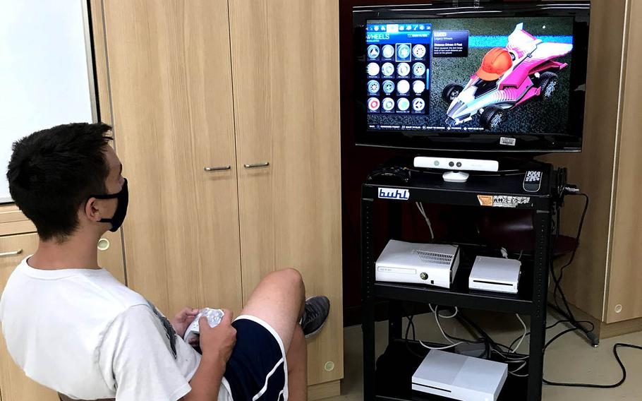 A member of Matthew C. Perry High School's esports club plays a video game at Marine Corps Air Station Iwakuni, Japan, in this undated photo provided by Department of Defense Education Activity-Pacific.