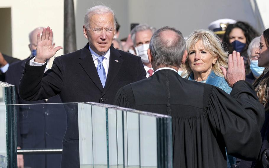 Joe Biden is sworn in as the 46th president of the United States at the U.S. Capitol in Washington, D.C., Jan. 20, 2021.
