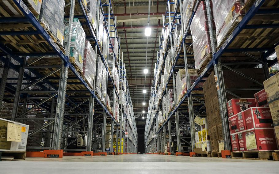 Beverages are stored inside the Army and Air Force Exchange Service's new distribution center at Camp Humphreys, South Korea, Tuesday, Jan. 26, 2021.