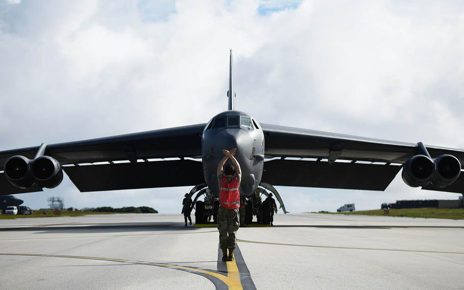 A B-52 Stratofortress assigned to Barksdale Air Force Base, La., arrives at Andersen Air Force Base, Guam, Jan. 26, 2021.