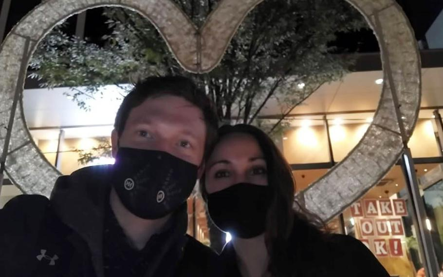 Trevor and Britni Balint pose together in an undated photo. Trevor, 34, was reported missing from Yokota Air Base, Japan. Feb. 1, 2021.