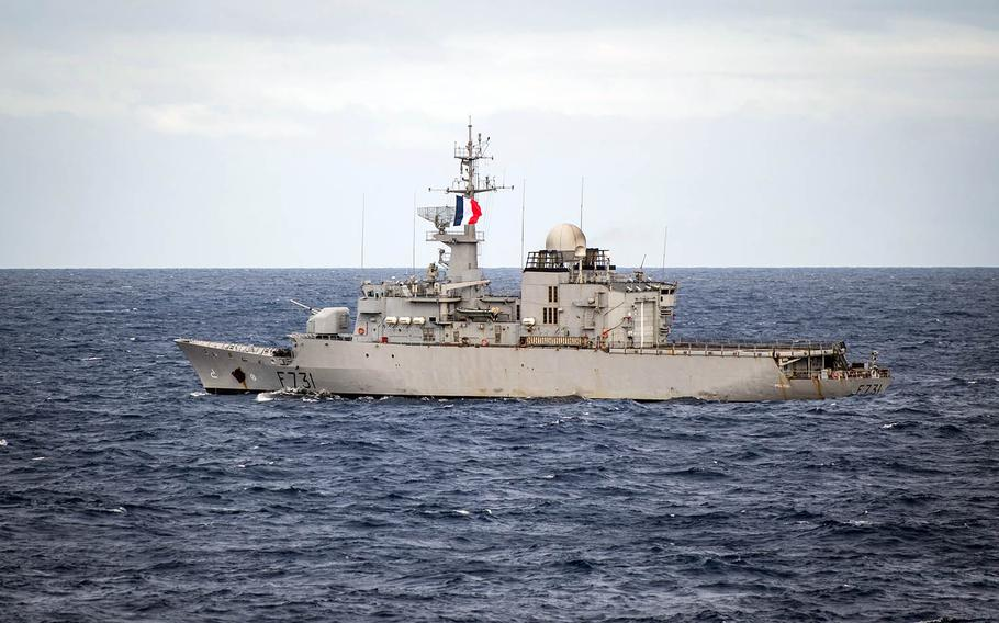 The French navy frigate Prairial takes part in the Rim of the Pacific exercise near Hawaii, July 26, 2018.