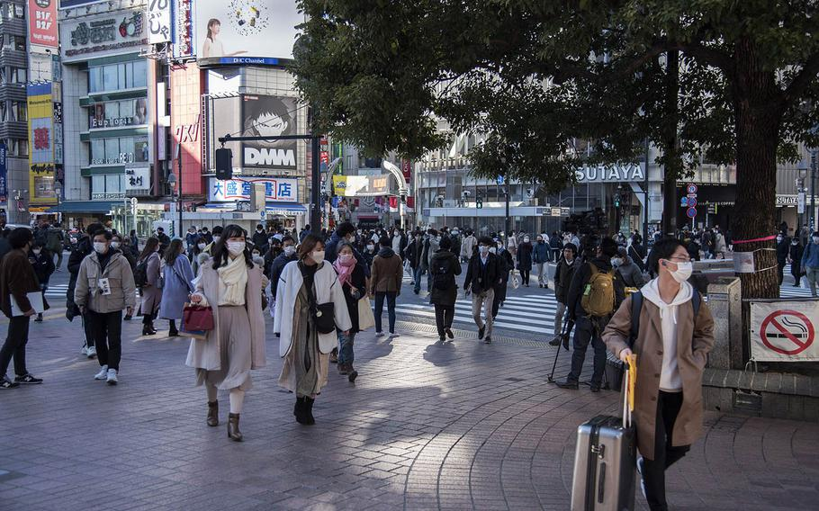 Shibuya Ward in central Tokyo, shown here on Feb. 4, is one of three city precincts still off-limits to personnel at Yokota Air Base, whose commander trimmed the no-go list on Monday, Feb. 22, 2021.