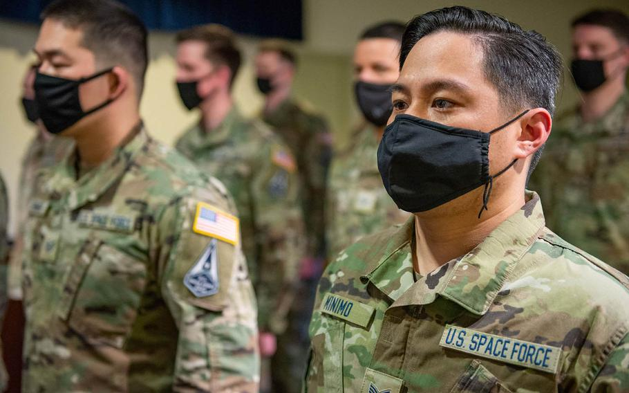 Seventeen airmen at the home of U.S. Forces Japan became Space Force guardians during a ceremony at Yokota Air Base in western Tokyo, Feb. 17, 2021.
