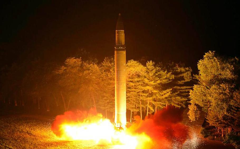 North Korea's Hwasong-14 intercontinental ballistic missile is test-fired in this undated image from the state-run Korean Central News Agency.