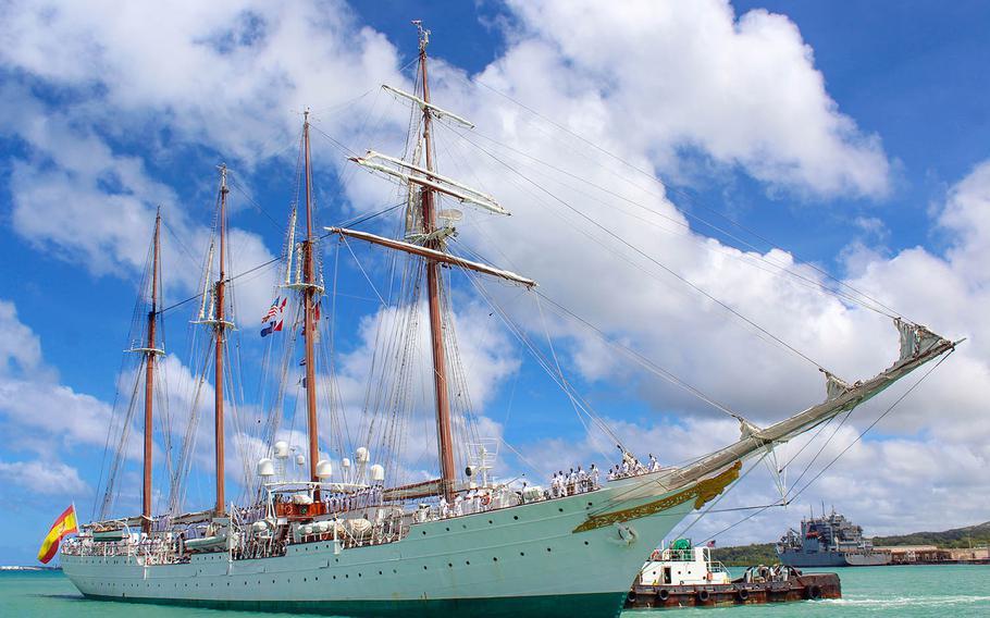 The Spanish Navy training ship Juan Sebastian De Elcano arrives at Naval Base Guam, Friday, Feb. 26, 2021. Its visit commemorates the 500th anniversary of the Magellan-Elcano circumnavigation.