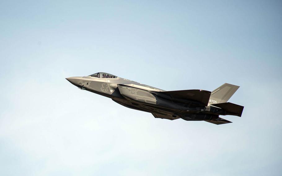A Japan Air Self-Defense Force F-35A flies over Misawa Air Base, Japan, Nov. 2, 2017.