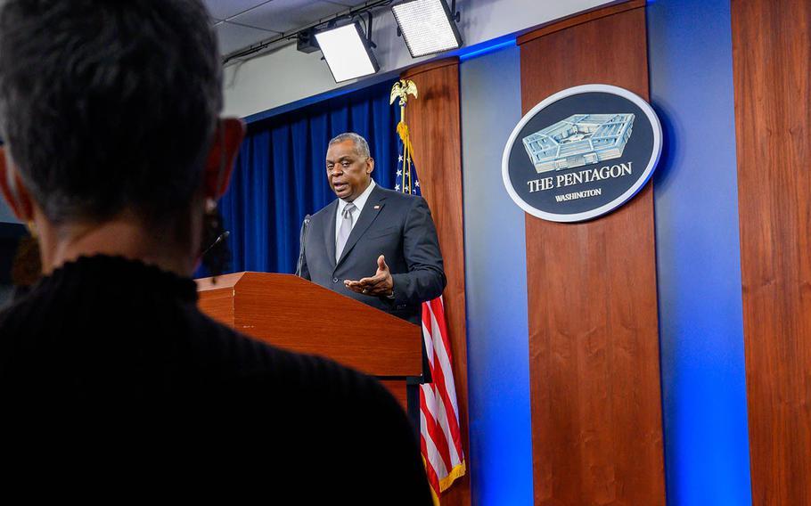 Secretary of Defense Lloyd Austin speaks with reporters inside the Pentagon briefing room, Feb. 19, 2021.