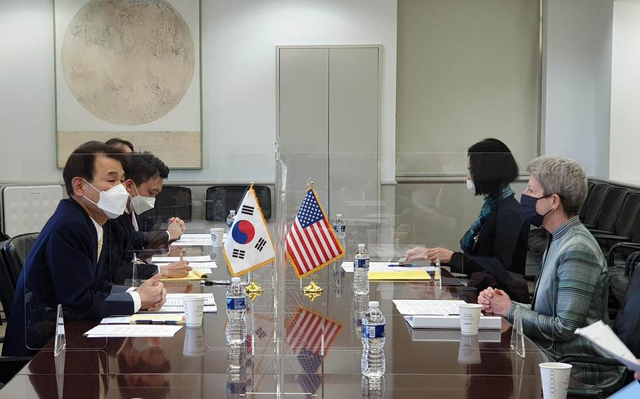 Representatives from the United States and South Korea negotiate the military cost-sharing agreement in Washington, D.C., in this undated photo from South Korea's Ministry of Foreign Affairs.