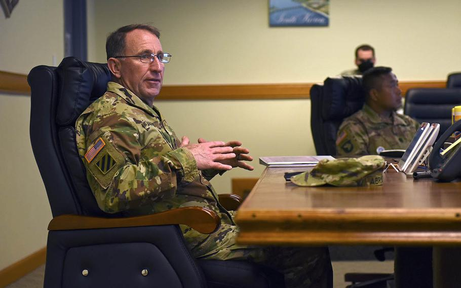 The commander of U.S. Forces Korea, Army Gen. Robert Abrams, speaks about the coronavirus pandemic at Kunsan Air Base, South Korea, April 28, 2020.