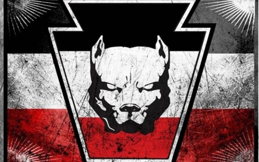This pit bull graphic is often used by Keystone United, formerly known as the Keystone State Skinheads, according to the Anti-Defamation League.