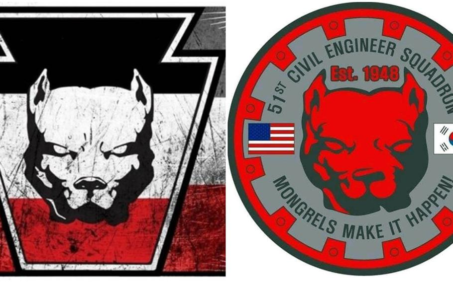"""The pit bull graphic on the left is often used by Keystone United, formerly known as the Keystone State Skinheads, according to the Anti-Defamation League. The former morale patch of the 51st Civil Engineer Squadron """"Mongrels"""" at Osan Air Base, South Korea, is shown at right."""