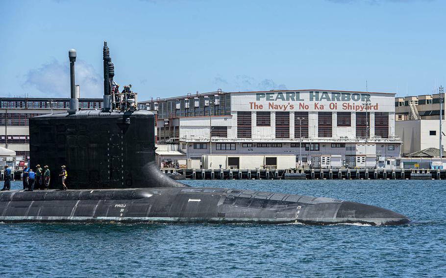 A Virginia-class fast-attack submarine departs Pearl Harbor Naval Shipyard in Hawaii, May 10, 2020.