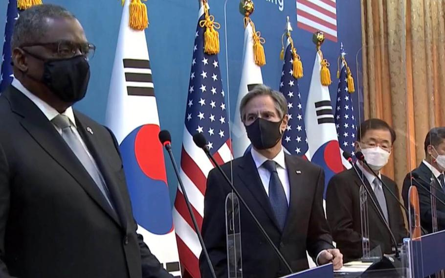 Defense Secretary Lloyd Austin speaks at a press conference in Seoul with Secretary of State Antony Blinken and their South Korean counterparts, Minister of Defense Suh Wook and Foreign Minister Chung Eui-yong, Thursday, March 18, 2021.