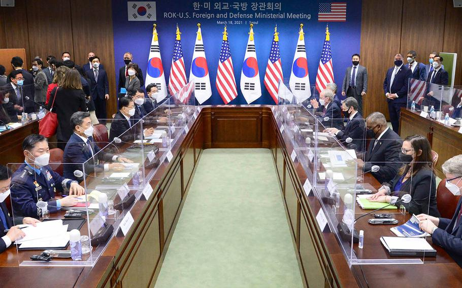 Defense Secretary Lloyd Austin and Secretary of State Antony Blinken meet in Seoul and their South Korean counterparts, Minister of Defense Suh Wook and Foreign Minister Chung Eui-yong, Thursday, March 18, 2021.