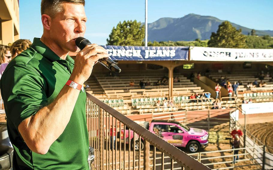 Brig. Gen. Joseph Ryan, then serving as acting senior commander of the 4th Infantry Division and Fort Carson, Colo., speaks at the Pikes Peak or Bust Rodeo in Colorado Springs, July 10, 2019.