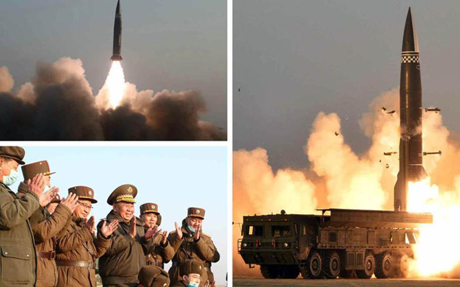 """This photo collage published by North Korea's Rodong Sinmun newspaper Friday, March 26, 2021, purports to show the launch of a """"newly-developed, new type"""" of missile the previous day."""