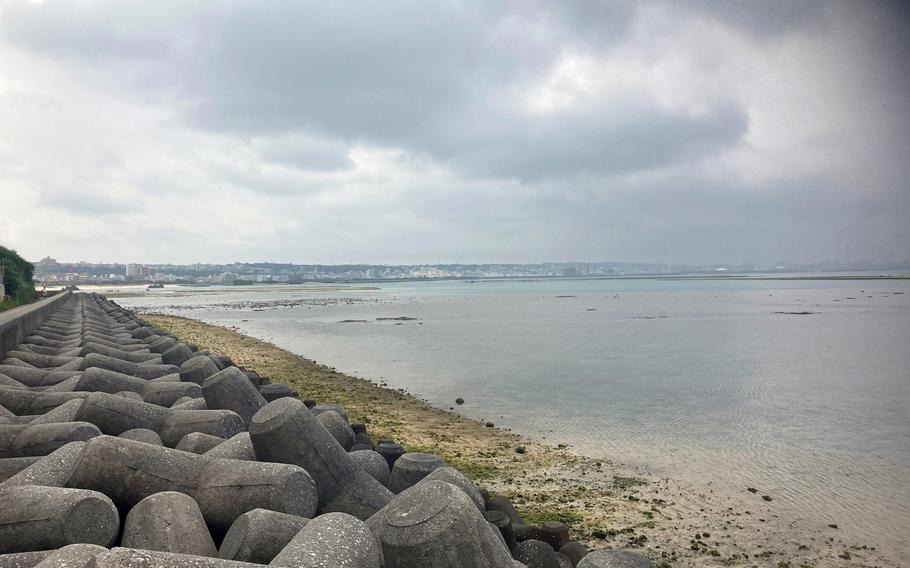 The waters off the Mihama area of Chatan town in Okinawa on March 29, 2021, two days after an Air Force civilian employee drowned in the area while swimming with a friend.