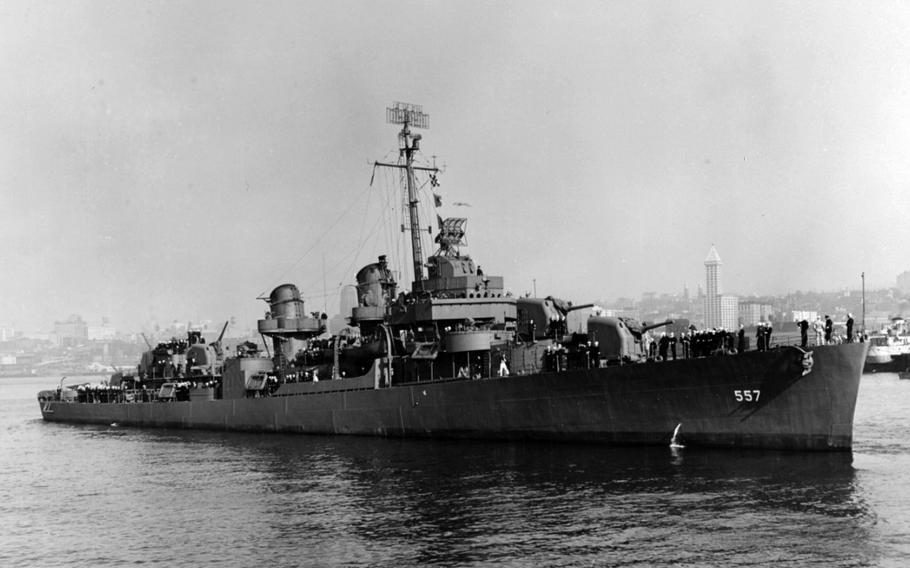 The destroyer USS Johnston floats in a harbor in Washington state Oct. 27, 1943.