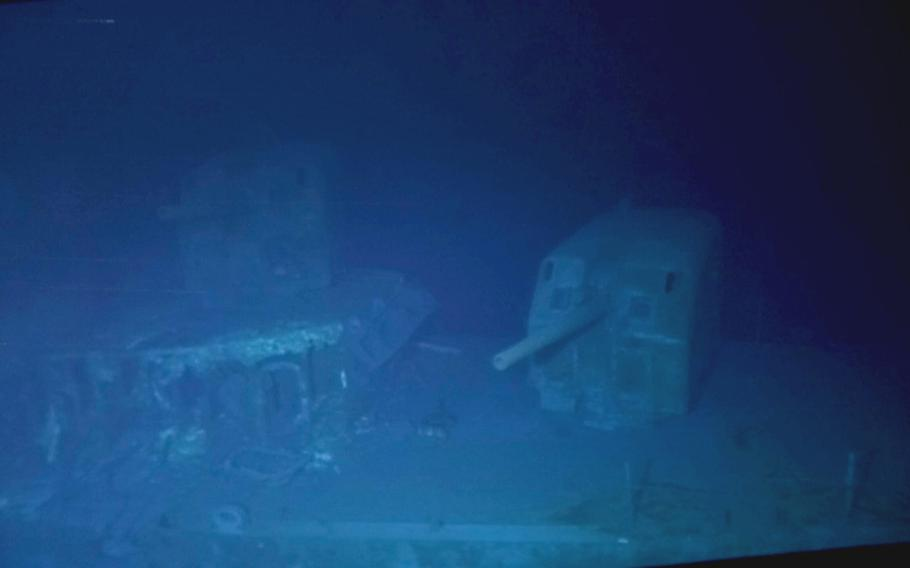 A gun turret on the USS Johnston, which sank Oct. 25, 1944, in the Battle off Samar, photographed in March 2021.