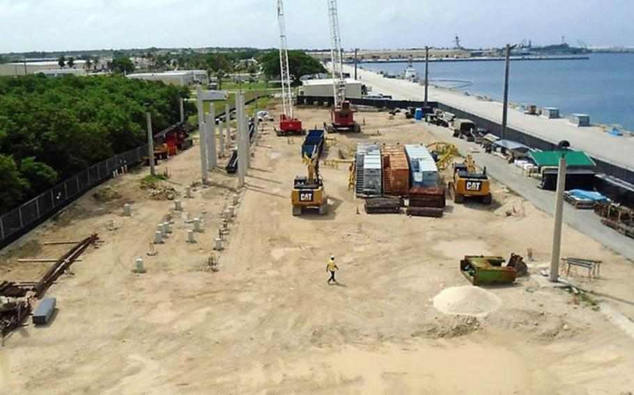 Ongoing construction on Guam, like this headquarters project in 2018, is creating a new home for Marines currently on Okinawa.