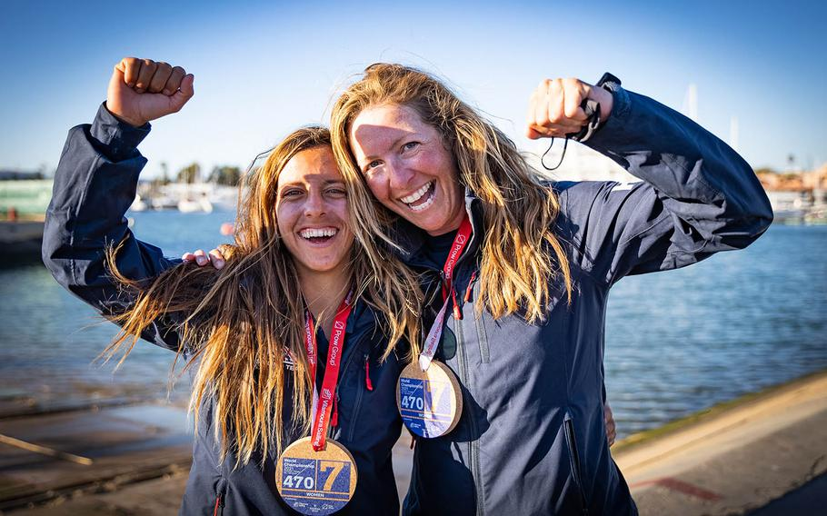 Coast Guard Lt. j.g. Nikki Barnes, left, and Lara Dallman-Weiss have qualified to represent the United States in sailing at the Tokyo Olympics.