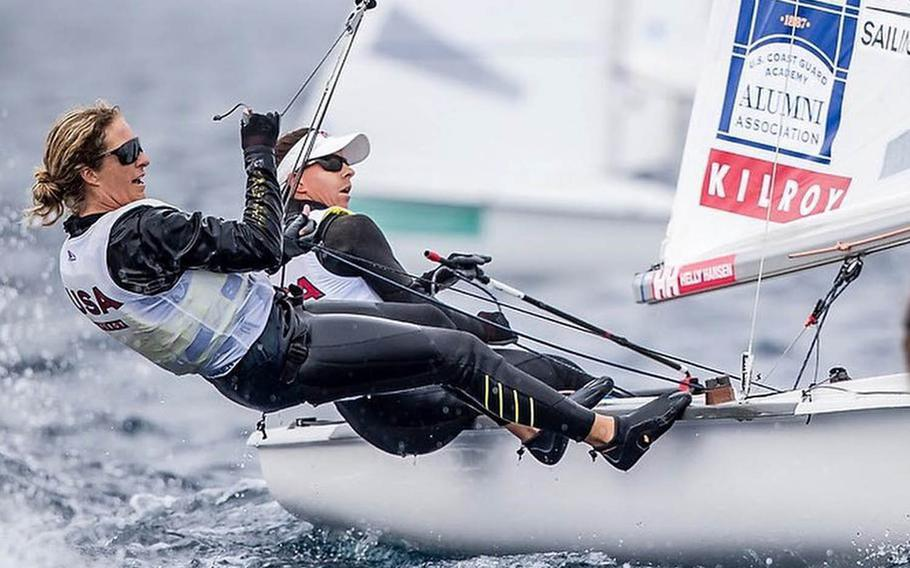 Coast Guard Lt. j.g. Nikki Barnes, right, and teammate Lara Dallman-Weiss will sail for the United States at the Olympic Games in Tokyo this summer.