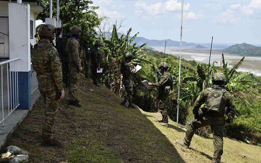 U.S. and Philippine airmen prepare for close air support training at Crow Valley Military Reservation, Philippines, during the annual Balikatan exercise, April 16, 2021.