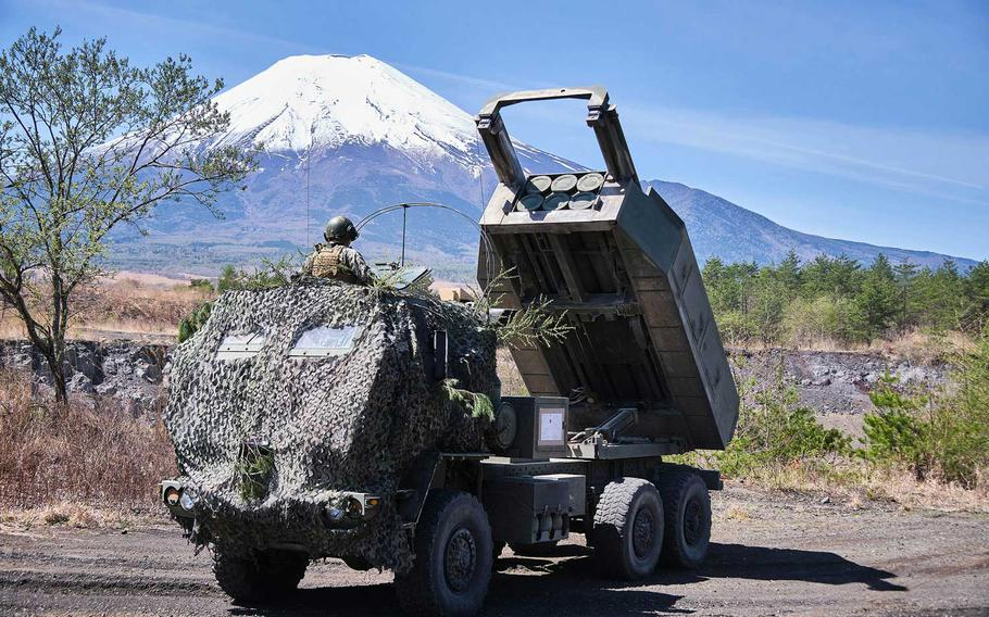 Members of 3rd Battalion, 12th Marine Regiment, 3rd Marine Division brought along an M142 High Mobility Artillery Rocket System, or HIMARS, during artillery relocation training at Camp Fuji, Japan, April 23, 2021.