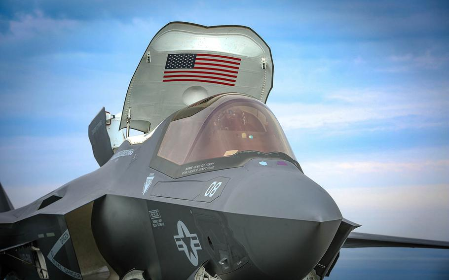 An F-35B Lightning II stealth fighter from Arizona-based Marine Fighter Attack Squadron 211 parks on the flight deck of the HMS Queen Elizabeth, Sept. 28, 2020.