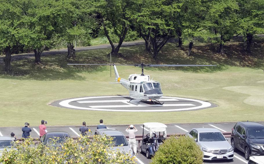 A UH-1N Iroquois helicopter from Yokota Air Base, Japan, tests an emergency landing zone at nearby Tama Hills Recreation Area, Saturday, May 1, 2021.