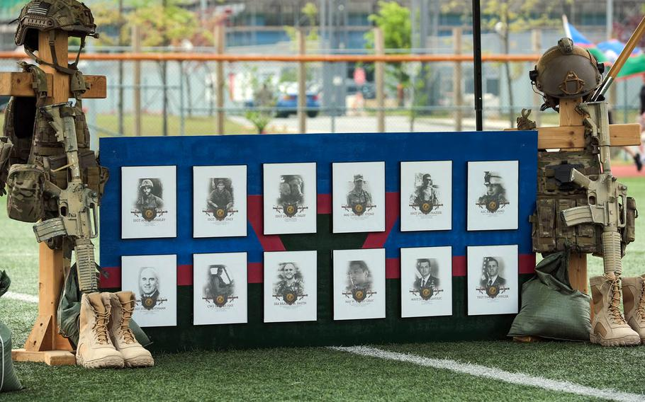 A memorial honors 12 fallen members of the Air Force's Tactical Air Control Party during the 10th annual 24-hour Challenge Run at Camp Humphreys, South Korea, April 29, 2021.