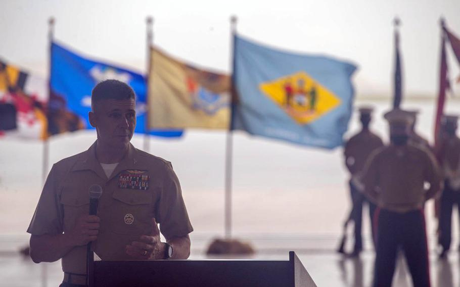 Col. Christopher Bopp gives his first speech as commander of Marine Corps Base Camp Blaz, Guam, Friday, May 7, 2021.