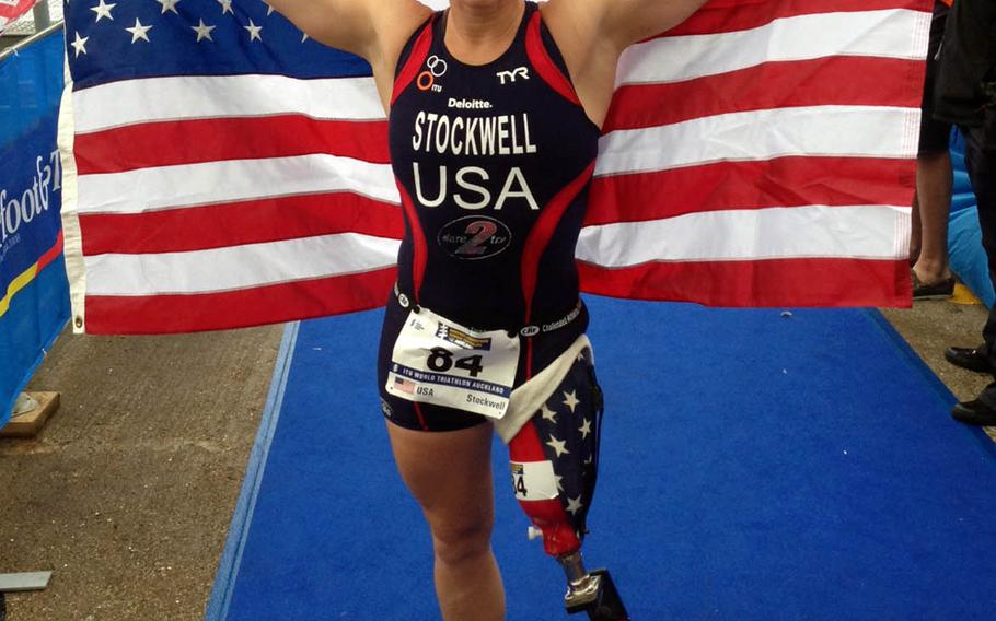 Iraq War veteran and Paralympic medalist Melissa Stockwell is slated to compete in a paratriathlon in Yokohama, Japan, Saturday, May 15, 2021.