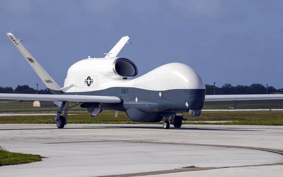 An MQ-4C Triton surveillance drone taxis at Andersen Air Force Base, Guam, April 28, 2020.