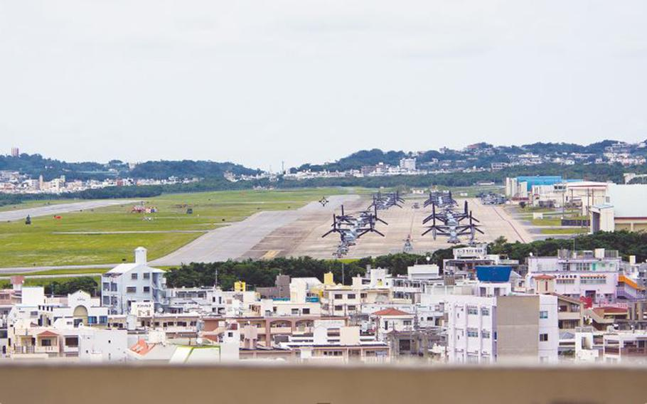 Marine Corps Futenma Air Station in Ginowan, Okinawa, is pictured April 19, 2019.