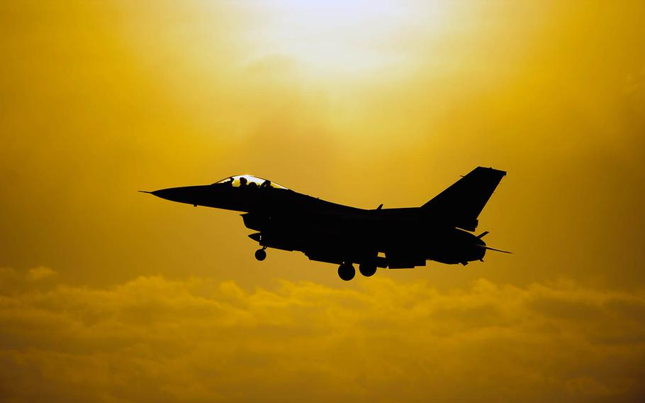 An 80th Fighter Squadron F-16 comes in for landing at Kunsan Air Base, South Korea, on May 7, 2014.