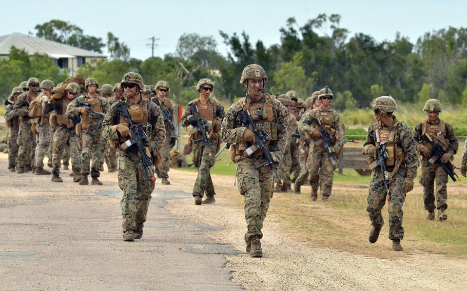 Marines participating in the rotational force to Darwin take part in a Talisman Sabre drill in Bowen, Australia, in July 2019.