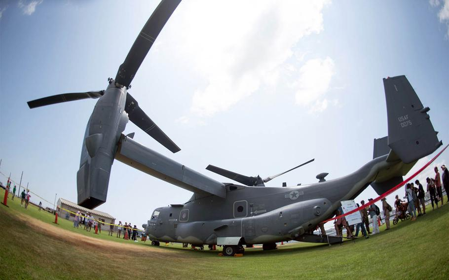 A CV-22 Osprey from 21st Special Operations Squadron at Yokota Air Base was on display during the 43rd annual Friendship Day at Yokosuka Naval Base, Japan, on Saturday, Aug. 3, 2019.