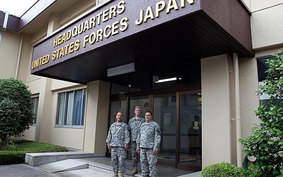 Maj. Jim Hewitt, left, Lt. Col. Lou Nelson, center, and Maj. Mike McGurl are all retirees who have recently returned to active duty with the U.S. Army and are now assigned to U.S. Forces Japan at Yokota.