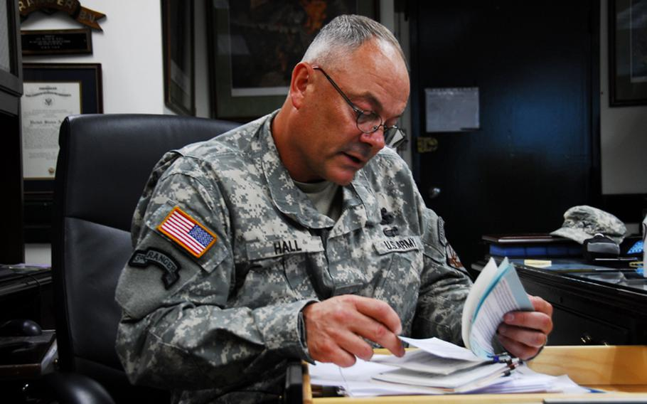 Col. David Hall, outgoing commander of U.S. Army Garrison-Yongsan, in his office the week before he steps down from command on July 8.