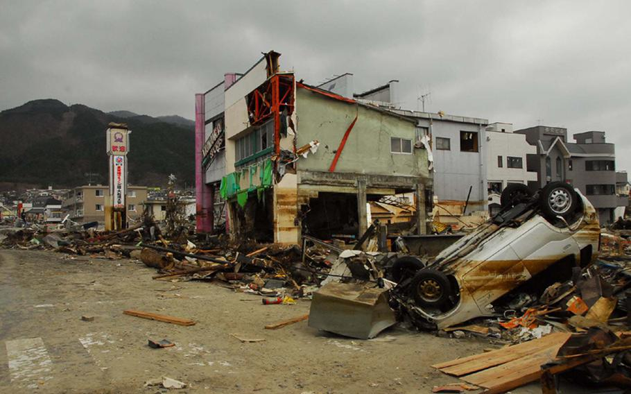 Downtown Ofunato, Japan, was still devastated Tuesday following last week's earthquake and tsunami. There were 200 deaths, 191 missing and 3,500 homes were destroyed.