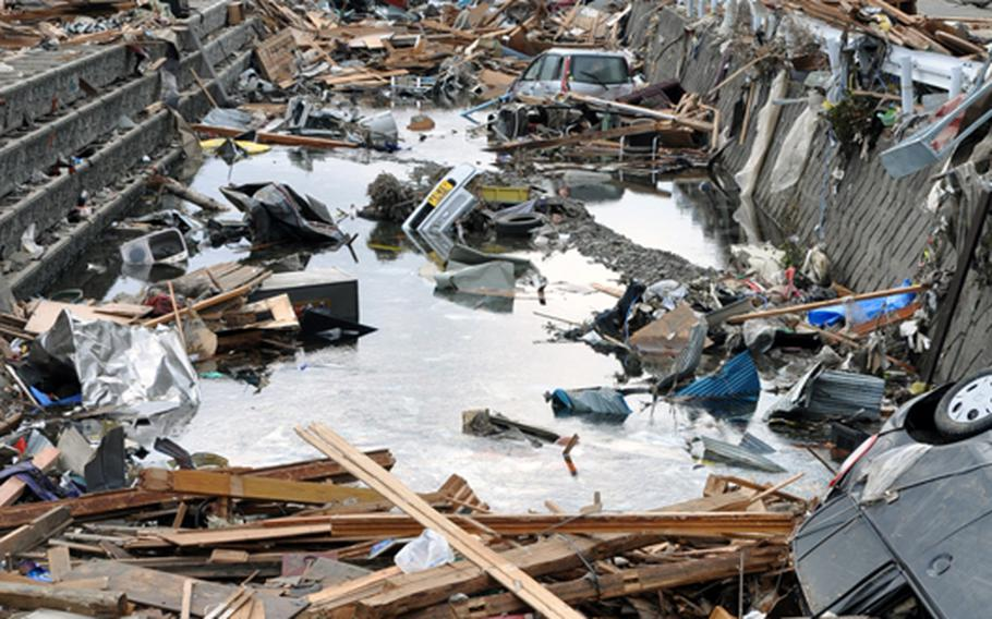 The coastal fishing village of Ofunato, Japan, looked like a war zone Tuesday following a March 11 earthquake and follow-on tsunamis.