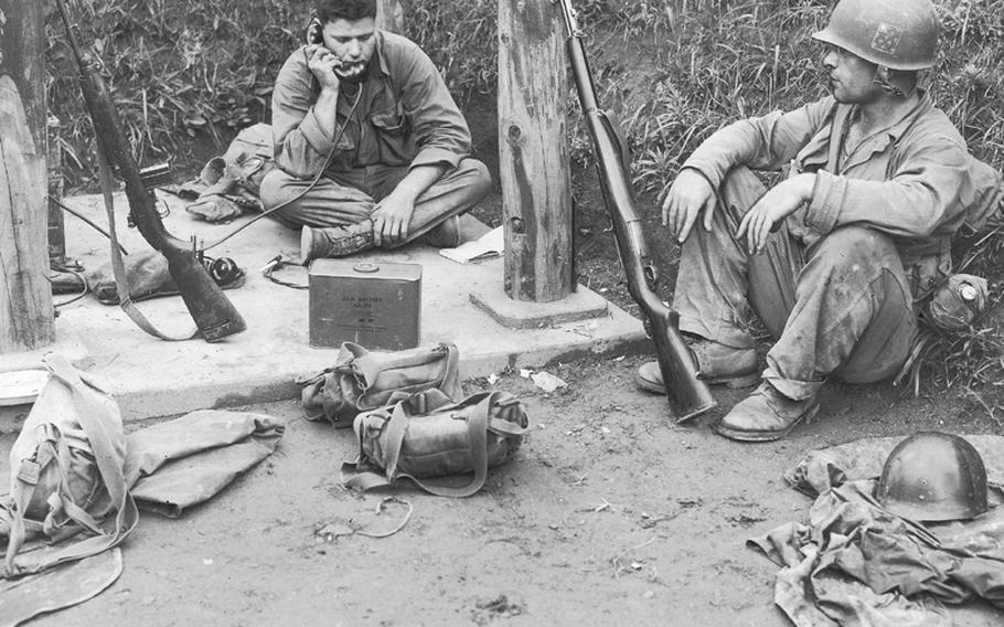 This photo from July 10, 1950 shows PFC Michael Macken, from Ft. Dodge, Iowa, and Cpl Albert Guidelly, from Newark, N.J.