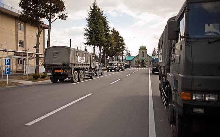 The streets of Camp Sendai are full of Japan Self-Defense Force vehicles.