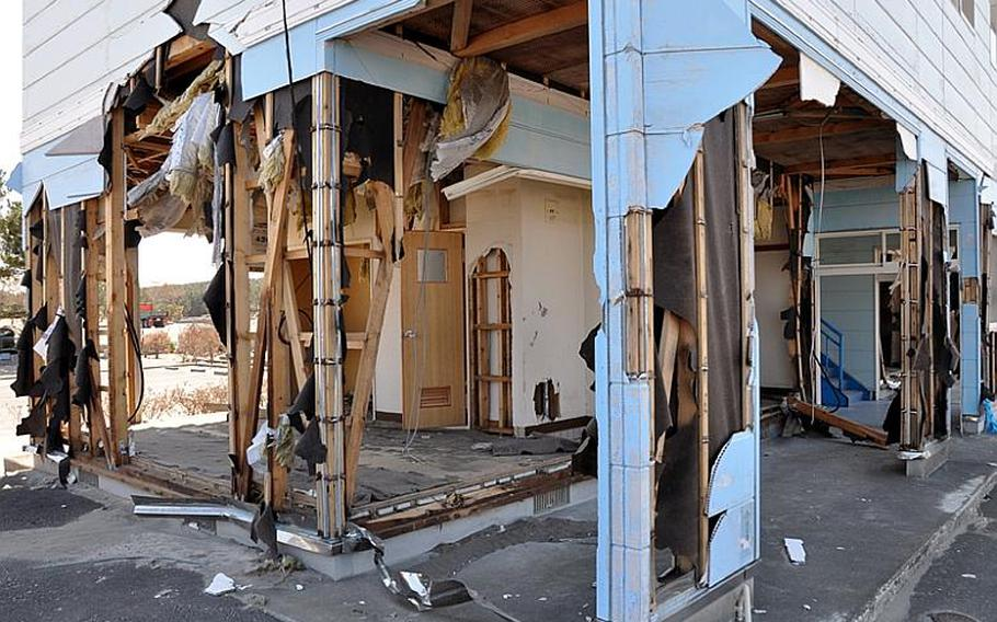 A huge tsunami gutted this seaside building in the Misawa City port on March 11 after a massive earthquake rocked the region.